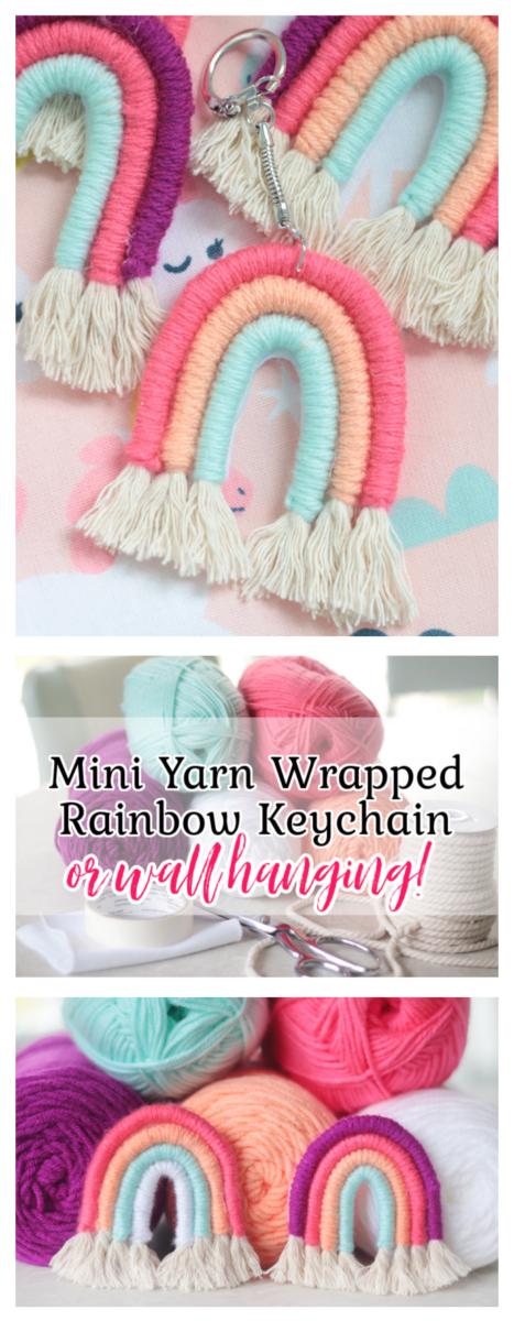 yarn wrapped rope rainbow keychains