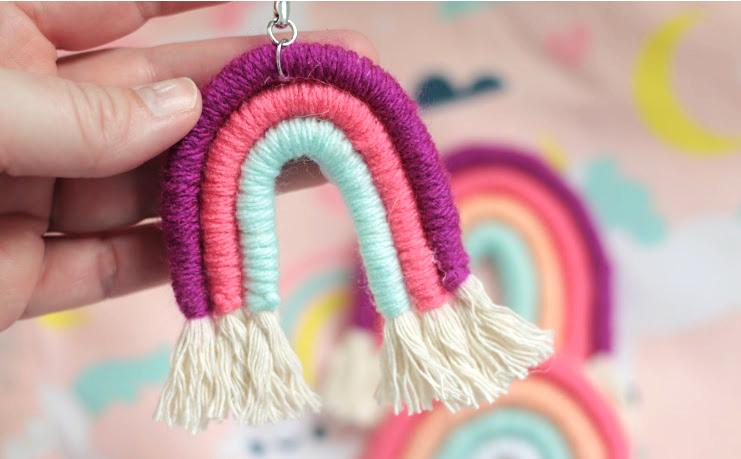 yarn wrapped rainbow keychain