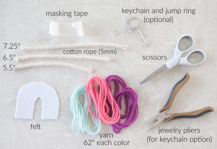 yarn, rope, scissors, pliers, tape, scissors and felt
