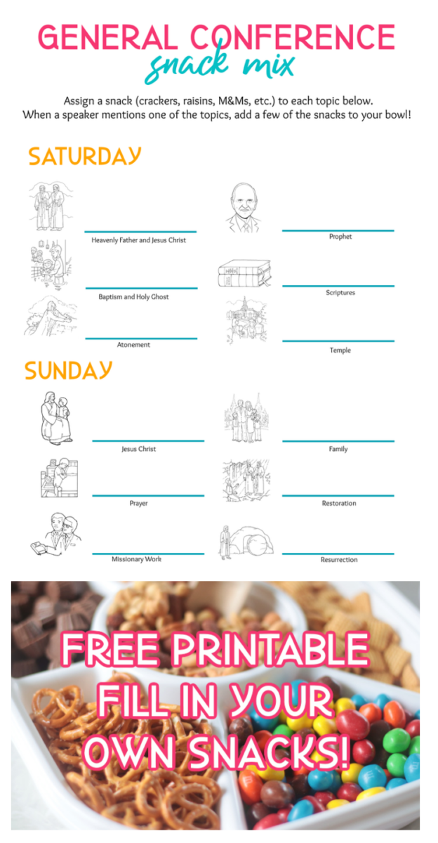 general conference snack mix printable