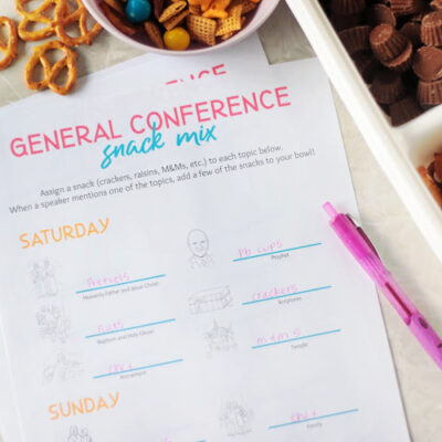general conference snack mix printable and pen