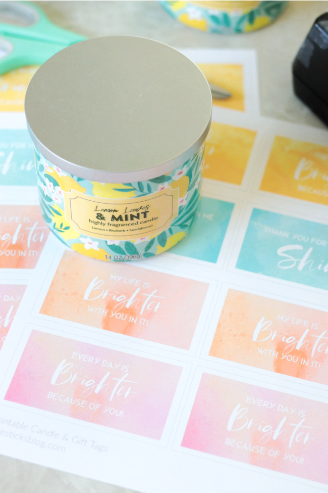 candle with printable candle labels