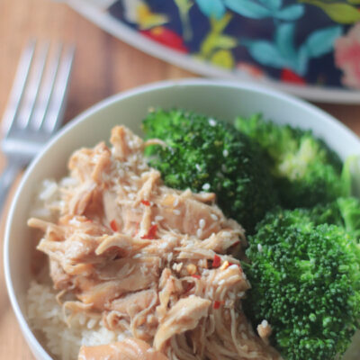 bowl of rice and chicken teriyaki with broccoli