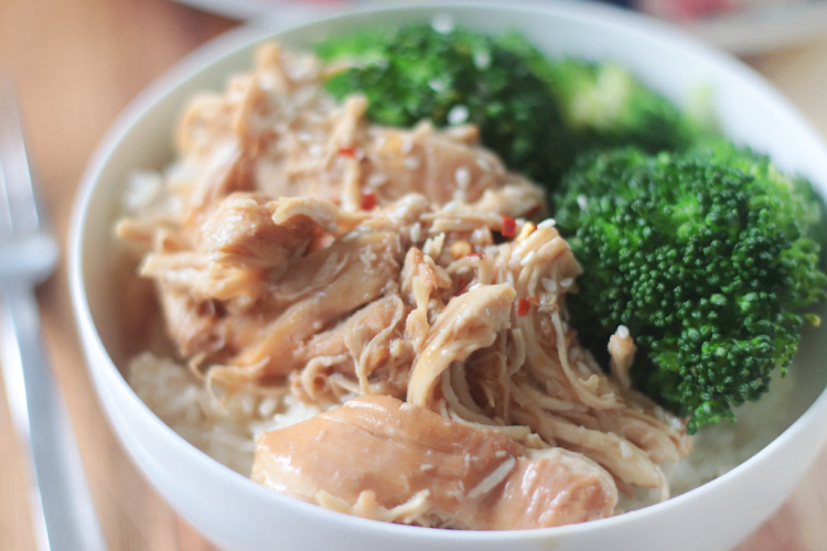 bowl of slow cooker chicken teriyaki with rice and broccoli