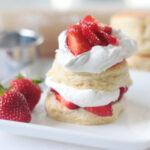 strawberry shortcake on a white plate