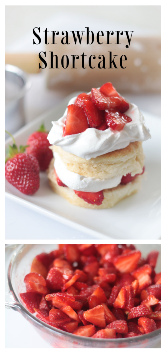 biscuit layered with strawberries and cream