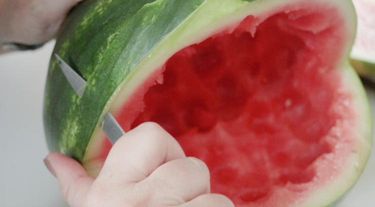 carving mouth of watermelon shark