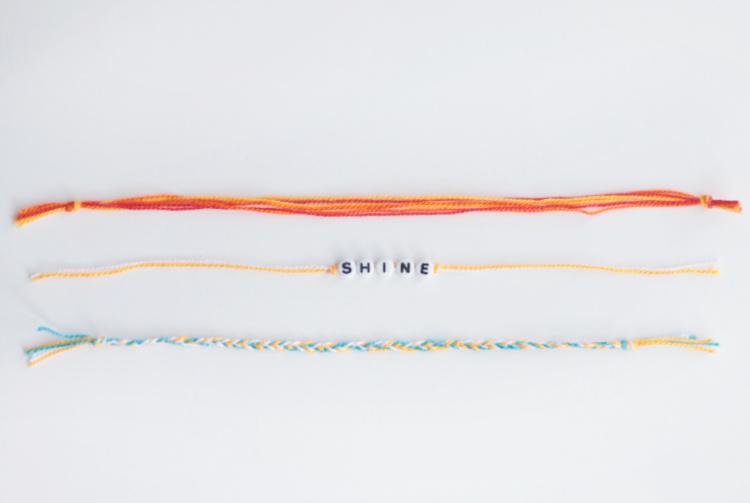 3 friendship bracelets on white background
