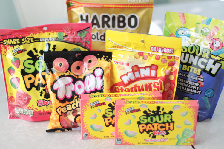 packages of fruit and sour candies