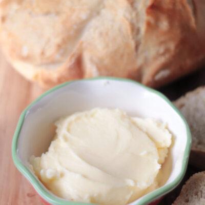 bowl of homemade butter