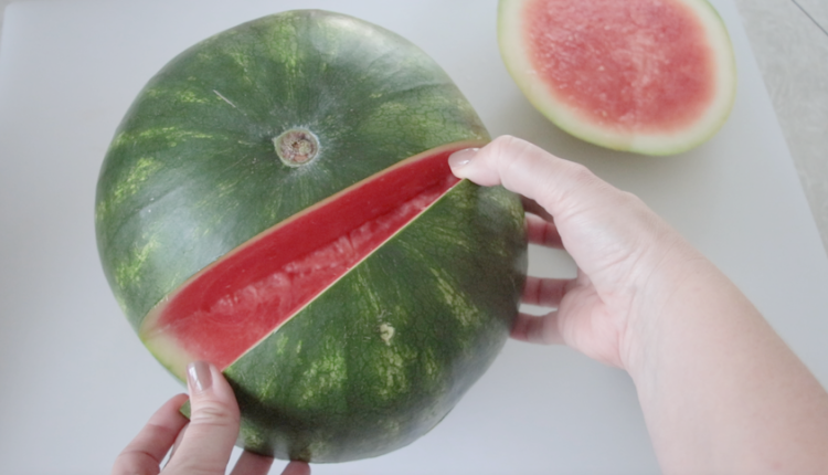 watermelon with section removed