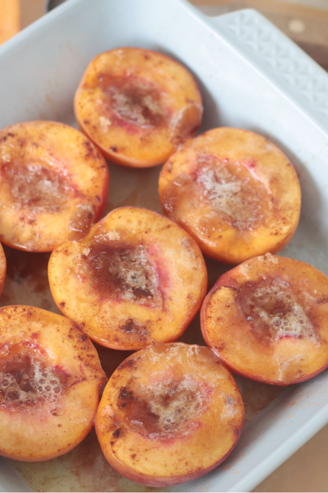 peach halves baked in dish
