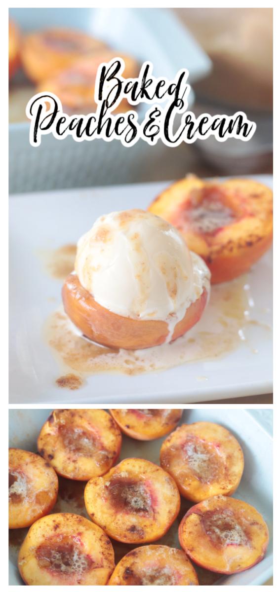 baked peaches with vanilla ice cream on top