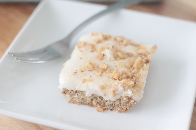 frosted banana bar on plate with fork