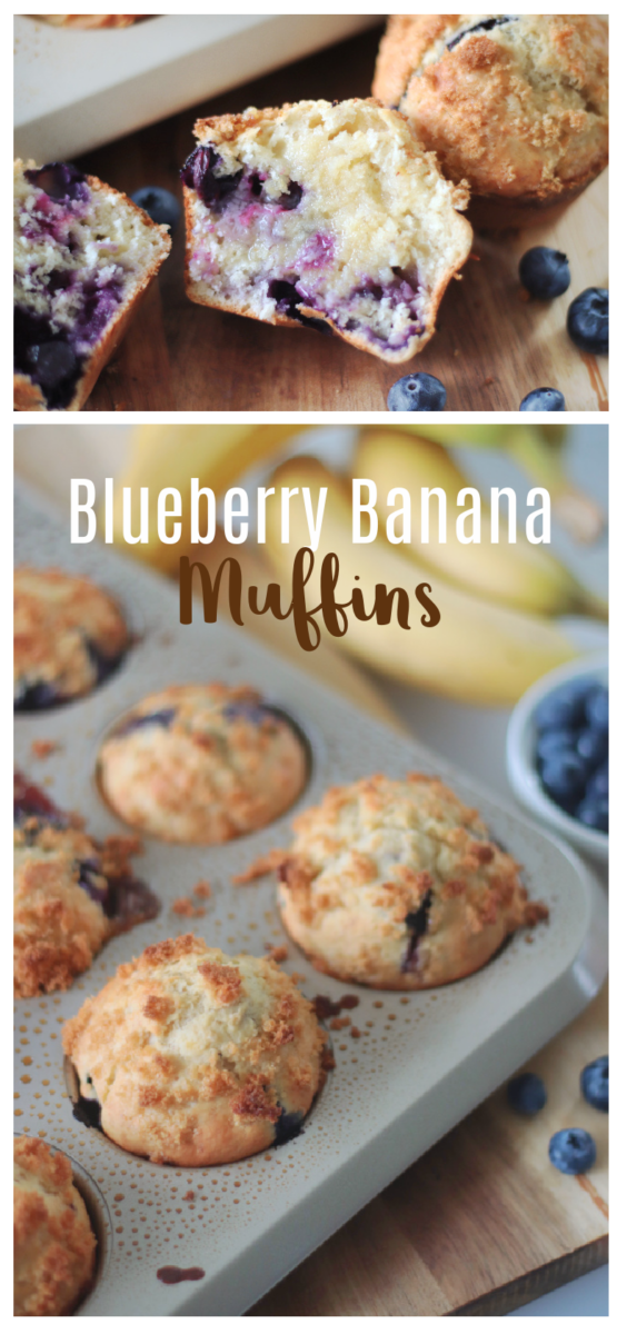 blueberry banana muffins in pan