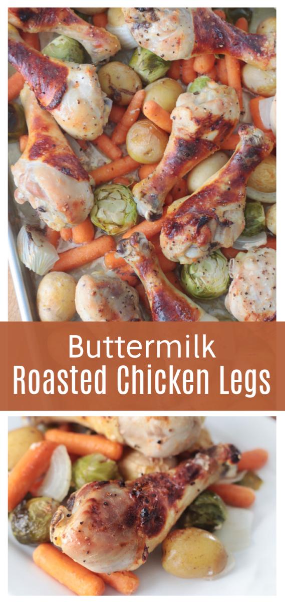 roasted chicken legs on vegetables