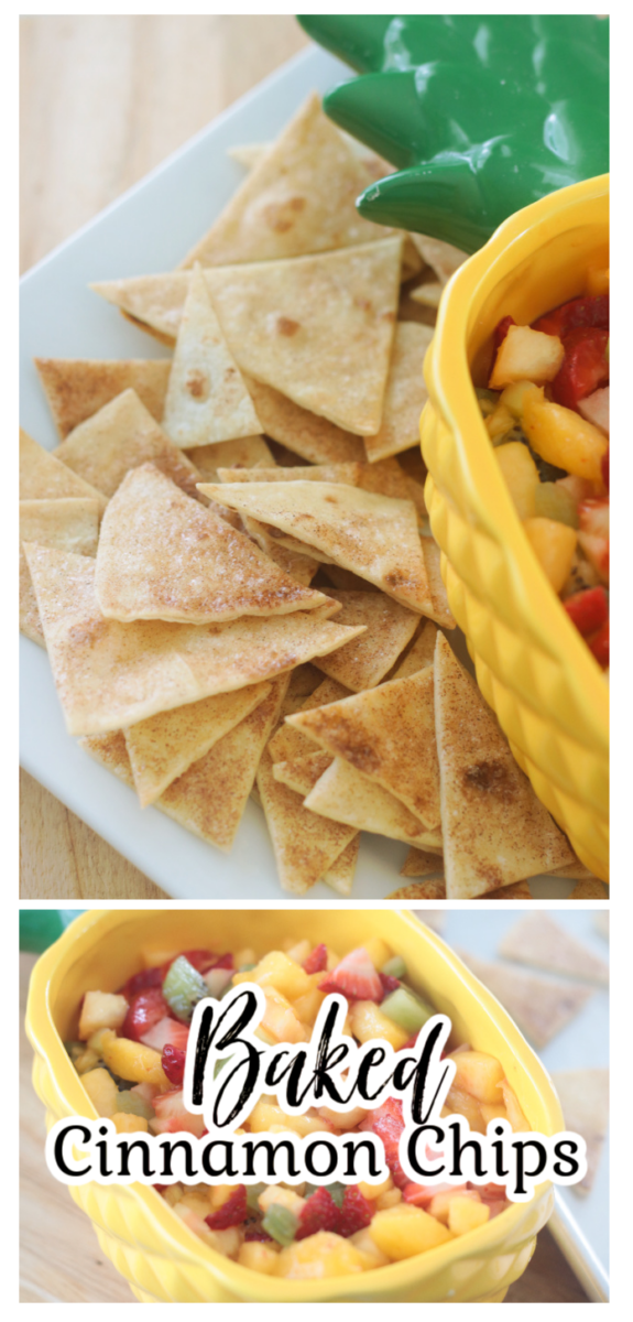 cinnamon tortilla chips on platter with fruit