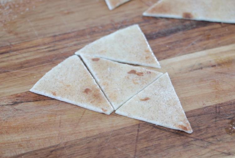 tortilla triangle cut into 4 smaller triangles