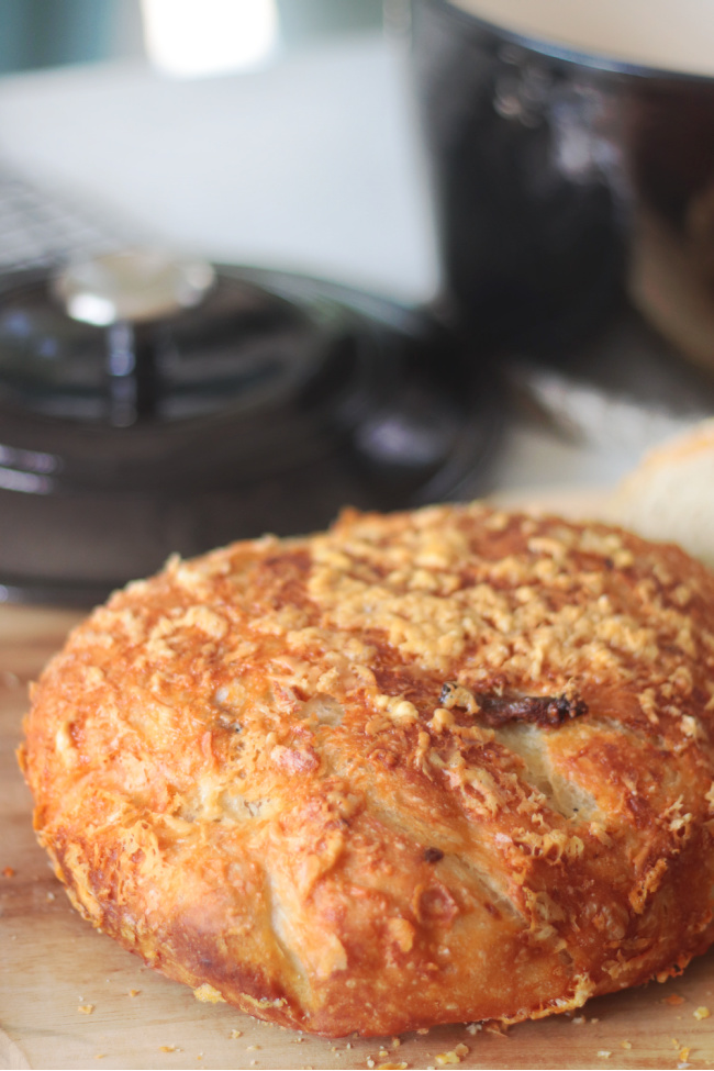 loaf of asiago artisan bread