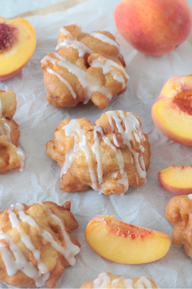 peach fritters and sliced peaches
