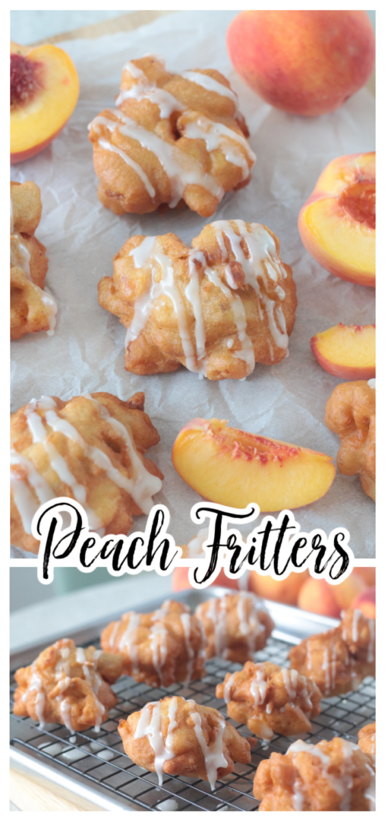 peach fritters on a cooling rack