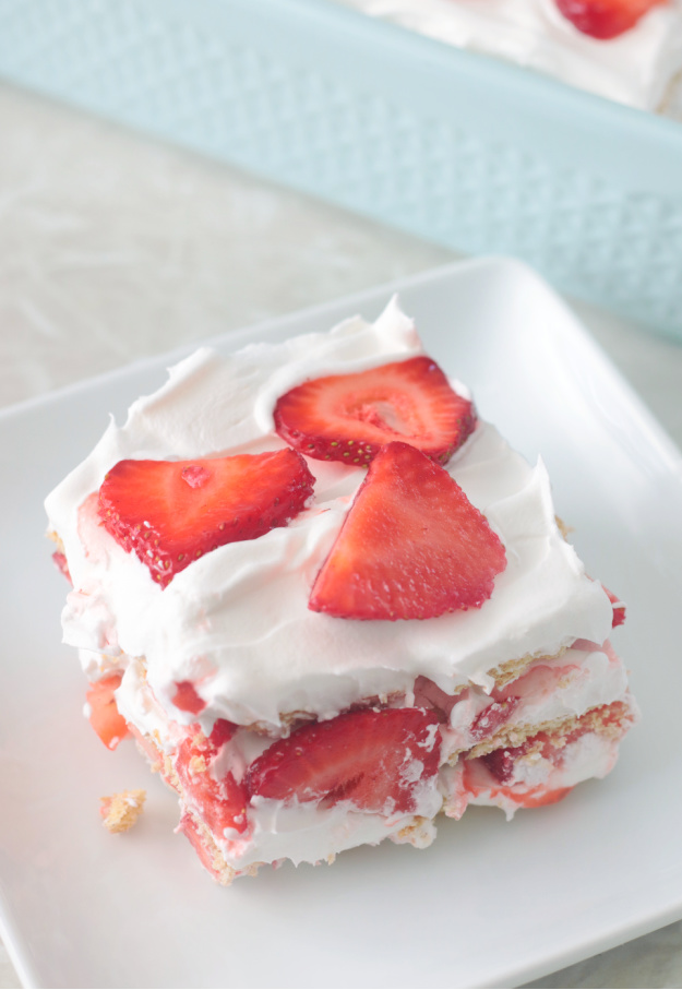 slice of ice box cake on white plate