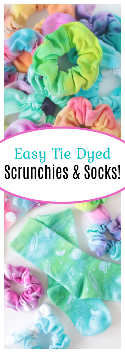 tie dyed scrunchies and socks