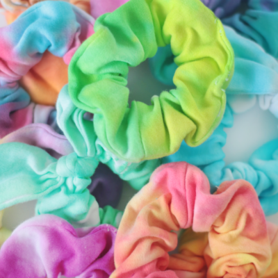 pile of tie dyed scrunchies