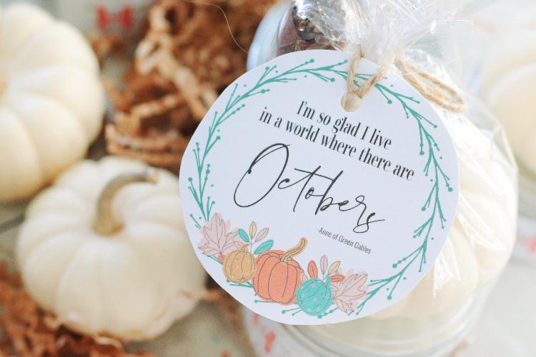 fall tag and pumpkins