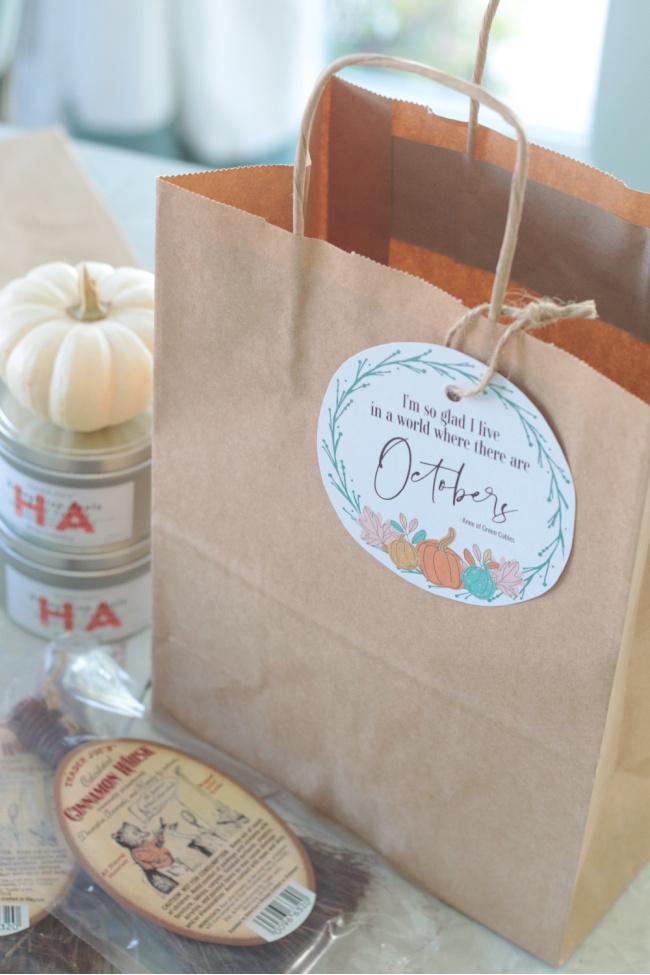 brown gift bag with fall printable gift tag