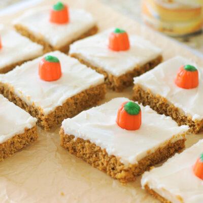 pumpkin bars cut into squares