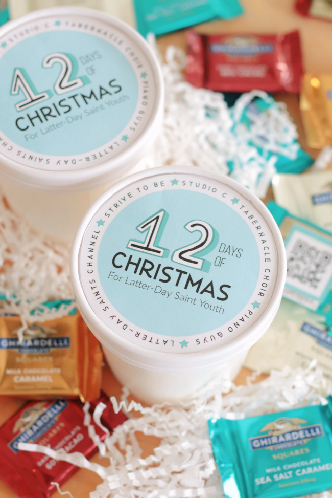 12 days of christmas for latter day saint youth label attached to container