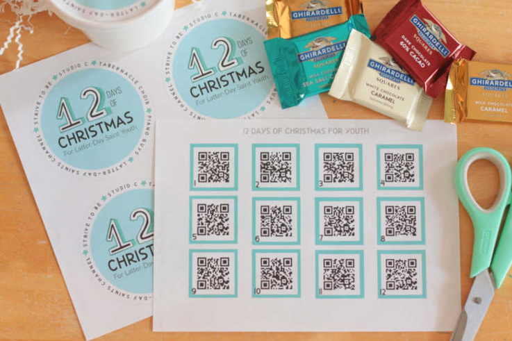 QR codes for 12 days of christmas gift
