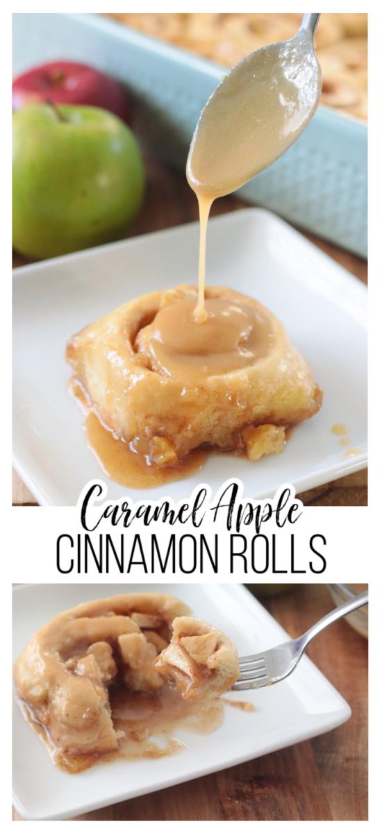 caramel apple cinnamon roll on plate