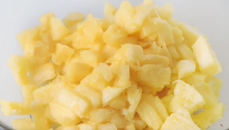bowl of diced fresh pineapple