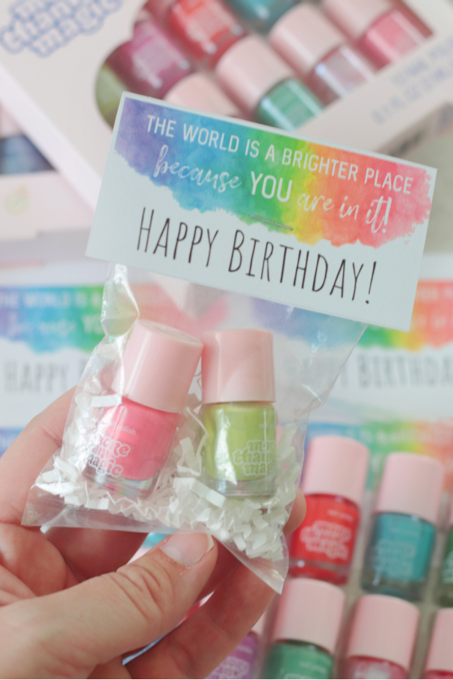 mini bottles of nail polish in small cellophane bag with printable