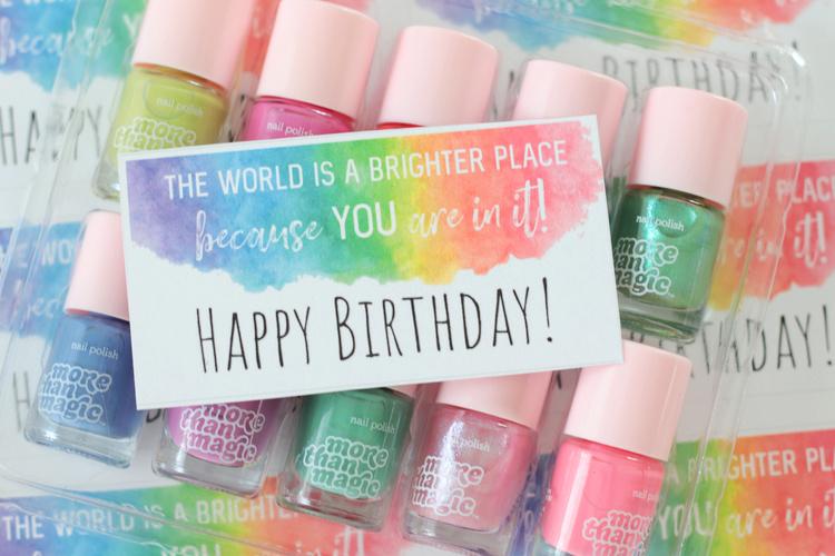 nail polish birthday tag with mini bottles of nail polish