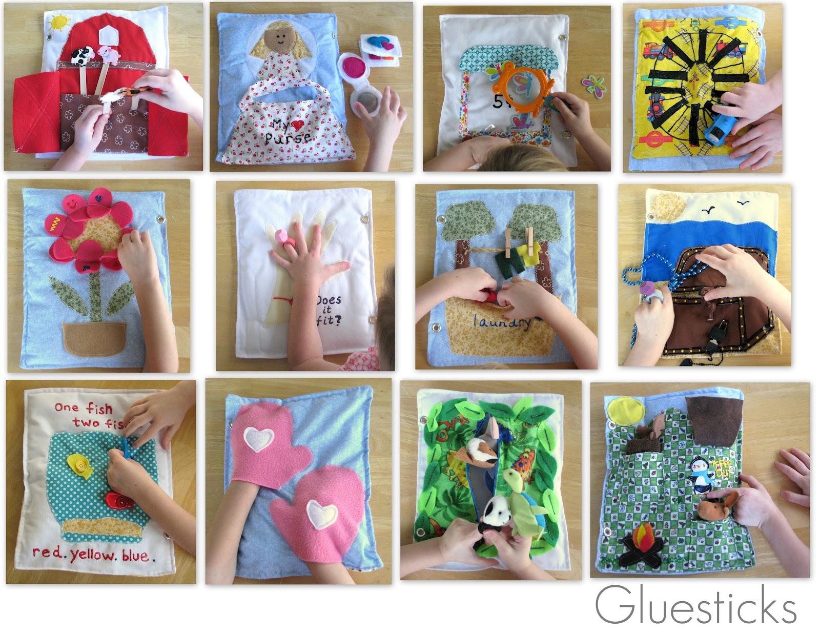 Our quiet book gluesticks for The idea door quiet book